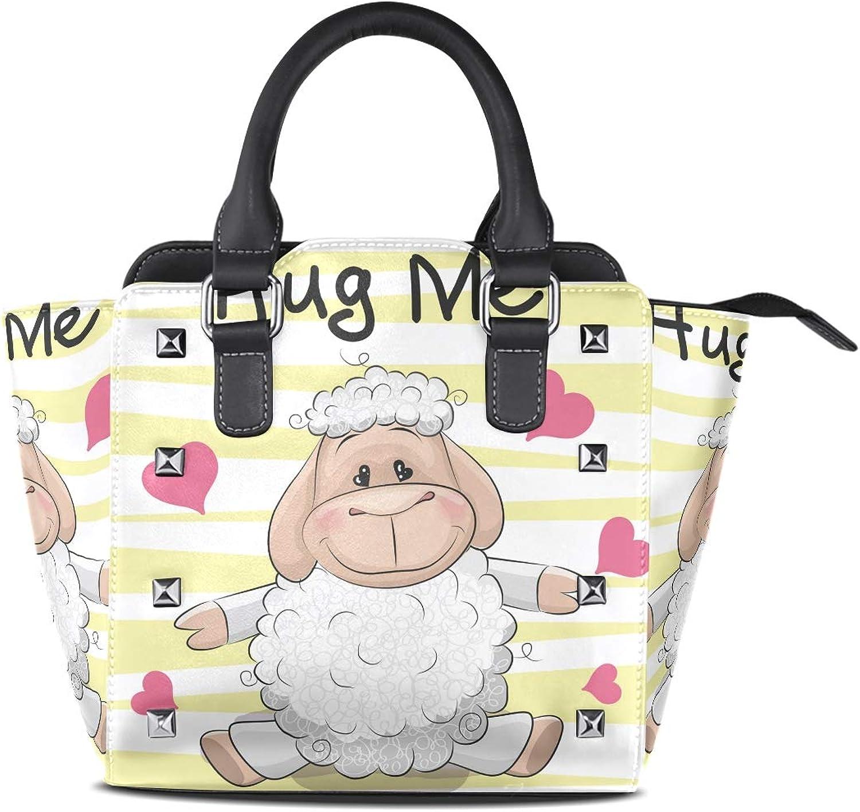 Leather Cute Alpaca Sheep Rivet Handbags Tote Bag Shoulder Satchel for Women Girls