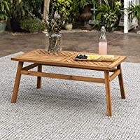 Walker Edison Outdoor Patio Wood Chevron Rectangle Coffee Table