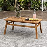 Walker Edison AZW42VINCTBR Outdoor Patio Wood Chevron Rectangle Coffee Table All Weather Backyard Conversation Garden Poolside Balcony, 42 Inch, Brown
