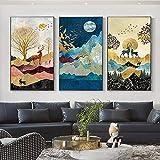 Impresión de lienzo póster dorado ciervo paisaje impresión decoración moderna para el hogar arte de pared abstracto pintura nórdica decoración para sala de estar 3 piezas 50x70cm sin marco