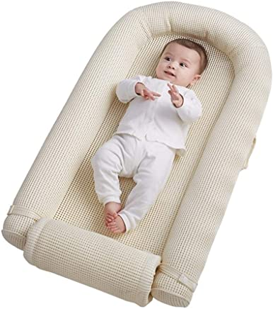 HLR-Crib Travel Cribs Travel Cots Baby Bassinet Cuddle Nest for Bed Extended and Bionic Design Portable Removable 100x55cm
