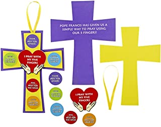 I Pray with My Five Fingers Pope Francis Cross Foam Arts and Crafts Kit, 9 Inch