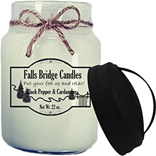 Falls Bridge Candles Black Pepper & Cardamom Scented Jar Candle 22-Ounce w/Handle Lid