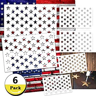 Star Stencil 50 Stars American Flag Stencils for Painting on Wood, Fabric, Airbrush,Reusable Starfield Stencil, (2 Large, 2 Medium, 2 Small)