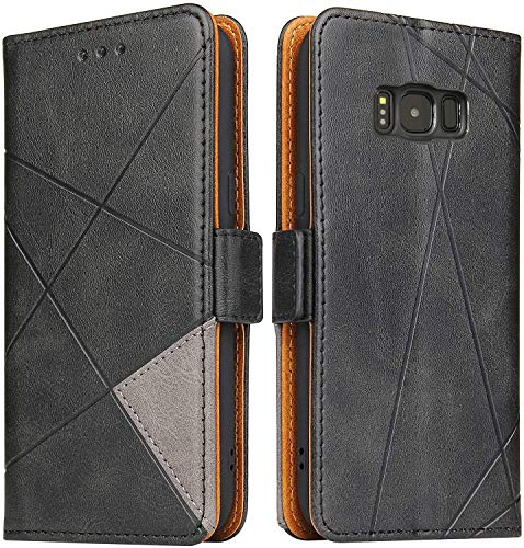 Lelogo Handyhülle für Samsung S8 Hülle, Galaxy S8 Lederhülle Handytasche, Klapphülle Tasche Leder Schutzhülle für Samsung Galalxy S8 Phone (Schwarz)