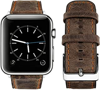 top4cus Genuine Leather iwatch Strap Replacement Band Stainless Metal Clasp, Compatible Apple Watch Series 4 Series 3 Series 2 Series 1 and Sport Edition (Retro Brown, 38 mm)