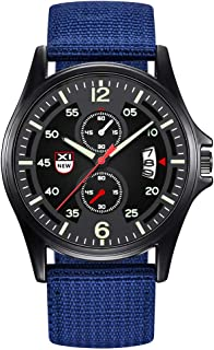 Military Watch,Men Analog Watches Army Filed Tactical Sport Wrist Watches Canvas Strap Calendar Date