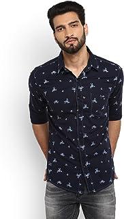 Mufti Men's Slim Fit Floral Prints Full Sleeve Shirt (Navy, 3XL)