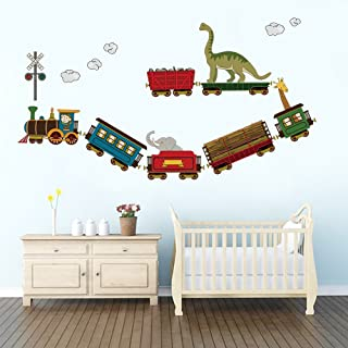 decalmile Animal Train Wall Decals Dinosaur Elephant Giraffe Wall Stickers Removable Kids Room Wall Decor for Baby Nursery Childrens Bedroom Playroom