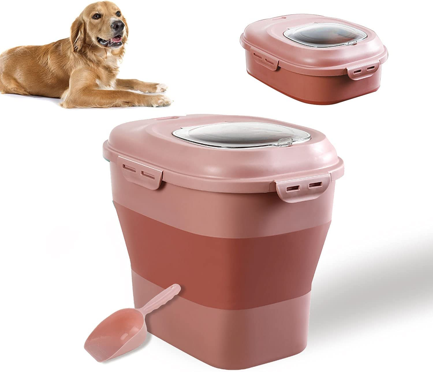 Large Sized Pet Food Storage Container with Lid, Foldable Snaps Closed Storage Bin with Food Scoop for Dog and Cat Food, 35LB Capacity Durable Airtight Rice Container Bucket with Wheels