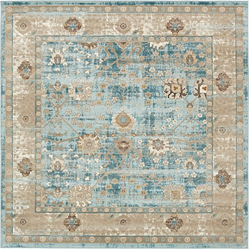 Vintage Distressed Rug Light Blue 6' x 6' FT