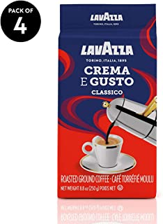Lavazza Crema e Gusto Ground Coffee Blend, Espresso Dark Roast, 8.8 Oz Bags (Pack of 4).