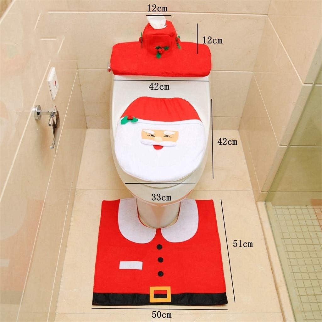 Rugs Toilet Seat Cover WORUIJIA 3 Pieces Fancy Christmas Santa Theme Bathroom Accessories Decoration Set Tank Cover for Xmas Indoor D/écor Party Favors