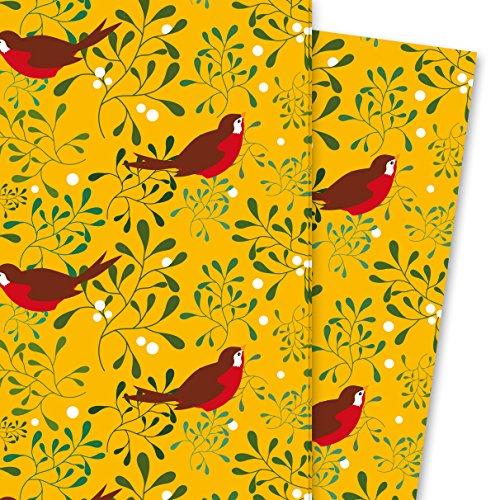 Kartenkaufrausch Schönes Mistel Geschenkpapier Set mit Vögelchen auf gelb 4 Bögen, 32 x 47,5 cm Dekorpapier, Musterpapier zum Einpacken, Designpapier, scrapbooking zum Basteln