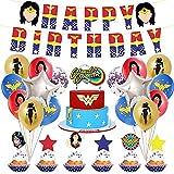 Suministros de fiesta de cumpleaños de Wonder Woman, suministros para Decoración de Tartas incluyen adorno para tarta cupcakes, Birthday Banner, globos Wonder Woman Suministros de fiesta para niños