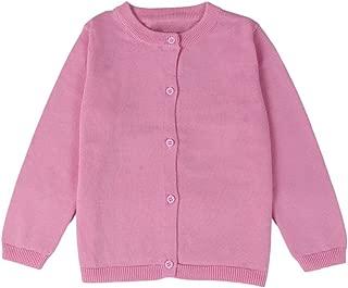 GSVIBK Girls Cotton Cardigan Long Sleeve Kids Button Sweater Crew Neck Cardigans Sweater