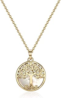 Willow Tree of Life Necklace with Swarovski Crystals (Gold), Gifts Women Girls, Pendant, Tree of Life, Pearl