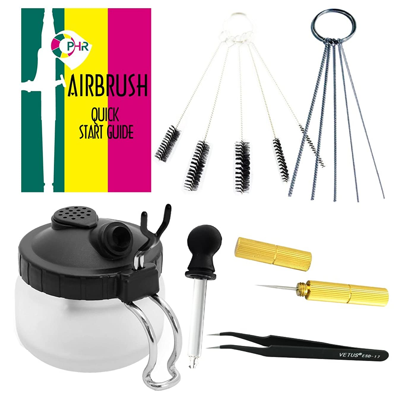 OPHIR 15PCS Airbrush Cleaning Kit Cleaning Station Tools-Cleaning Pot Jar with Holder,Cleaning Brush Barrel,Cleaning Needle,Tweezers,Dropper and Quick Start Guide (15PCS Airbrush Cleaning Tools Kit)