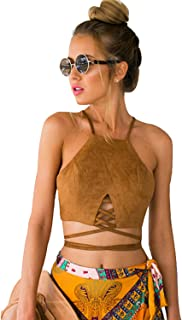 Blooming Jelly Women's High Neck Self-tie Crop Top Boho Bandage Cami Zipper Tanks