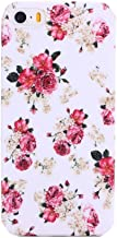 CyberStyle Floral Print TPU Rubber Case for iPhone 5, 5S with Screen Protector