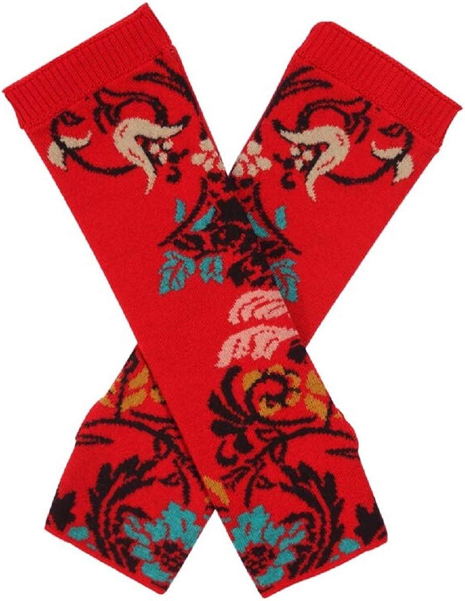 IVKO Floral Pattern Wrist Warmers in Red Knit Extra Fine Merino Wool Fingerless Gloves Pullwarmers