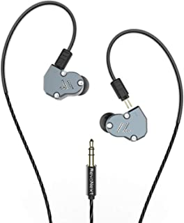 RevoNext QT2 Triple Driver In Ear Kopfhörer, abnehmbare kabelgebundene Kopfhörer, HiFi Stereo Headset mit dynamischem Treiber und Balanced Armature Hybrid (Grau ohne Mikrofon)