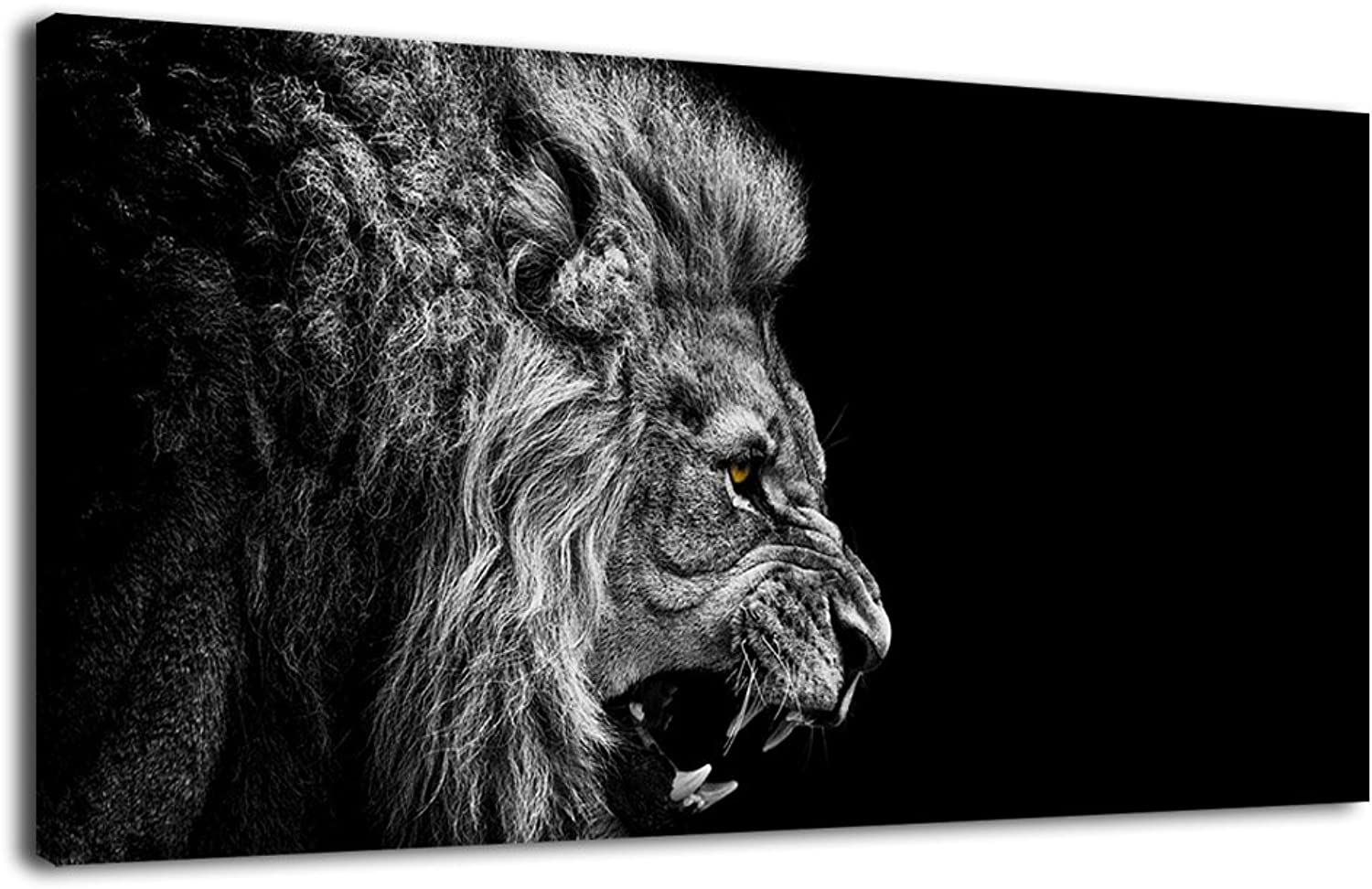 ArteWOODS Canvas Wall Art Lion Painting Modern Large Panoramic Canvas Prints Artwork Contemporary Pictures Black and White Lion for Kitchen Office Home Decoration 20  x 40
