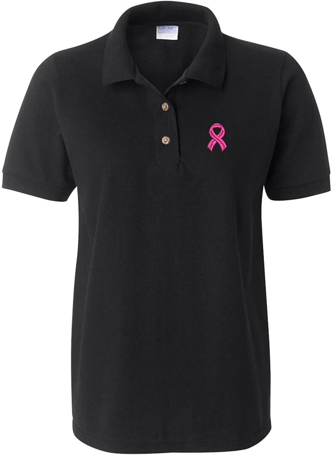 ALLNTRENDS Women's Polo Max 55% Houston Mall OFF T Shirt Ribbon Breast Pink Cancer Suppor