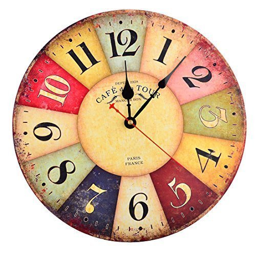 Orologio da parete, Finer Shop 12in Vintage Colorful Francia Parigi Stile francese del paese toscano di numeri arabi design silenzioso Orologio da parete in legno Home Decor