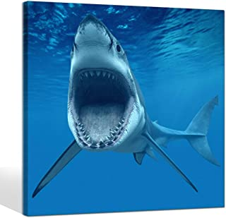 Live Art Decor- Big Shark Near Sea Surface Open Mouth In Blue Sea Wall Art Painting Animal Pictures Photo to Canvas Art for Home Decor Decoration Framed