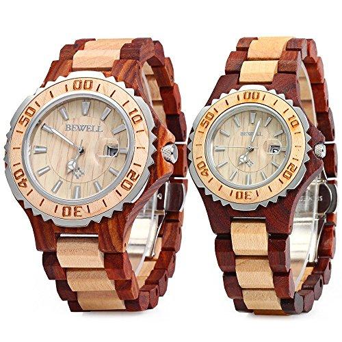 Bewell ZS-100Bカップル木製クオーツ時計男性と女性用ハンドメイド軽量日付表示ファッション腕時計メープルとレッドサンダルウッド