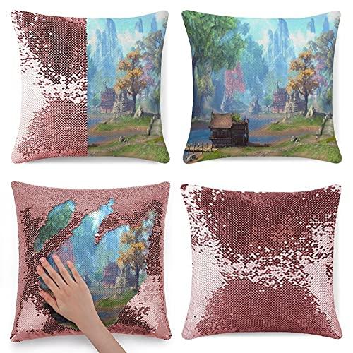 Funda de almohada con purpurina de patrón retro rosa