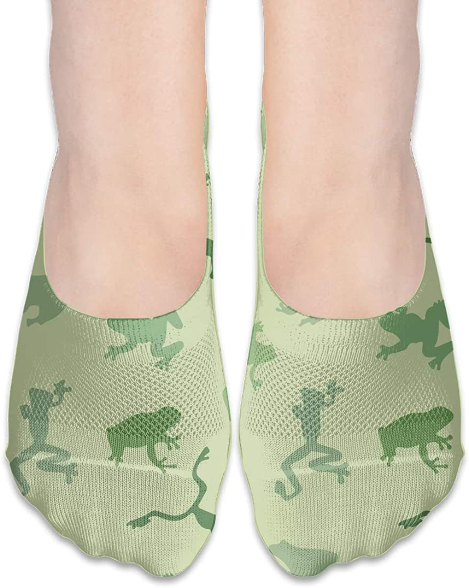 No Show Socks Women Men For Funny Camo Green Frog Flats Cotton Ultra Low Cut Liner Socks Non Slip