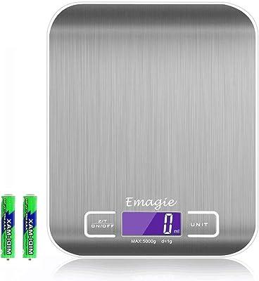 Báscula Digital de Cocina Bascula de Comida Alimentos Multifunción 11lb 5kg Plata Acero Inoxidable - Baterías Incluidas