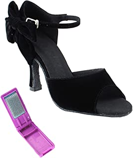 Very Fine Ballroom Latin Tango Salsa Dance Shoes for Women SERA7010 3-Inch Heel + Foldable Brush Bundle