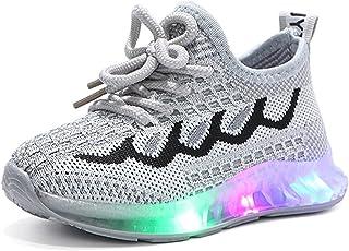 NAIKLY Kids LED Chaussures Casual Flashing Sneakers Baskets Enfant Filles Garçons Respirant Sneakers Flashing (Filles/Boys...