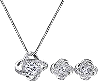 AMYJANE Bridal Jewelry Set for Women - Crystal Cubic Zirconia Love Knot Necklace Stud Earrings Elegant CZ Jewelry Set for Wedding Bride Bridesmaids Gift Set