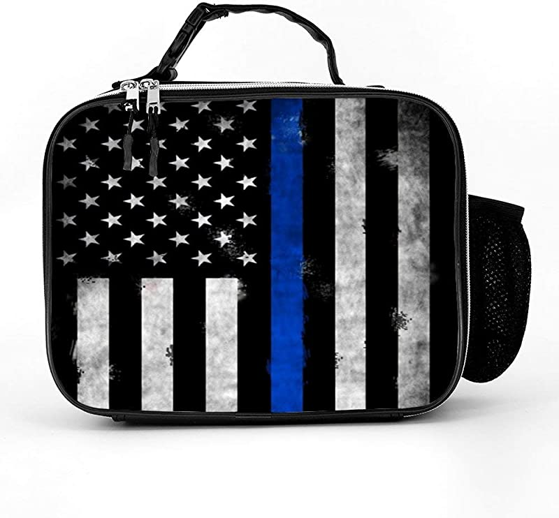 Retro Thin Blue Line Lunch Box With Padded Liner Spacious Insulated Lunch Bag Durable Thermal Lunch Cooler Pack For Boys Men Women Girls Adults