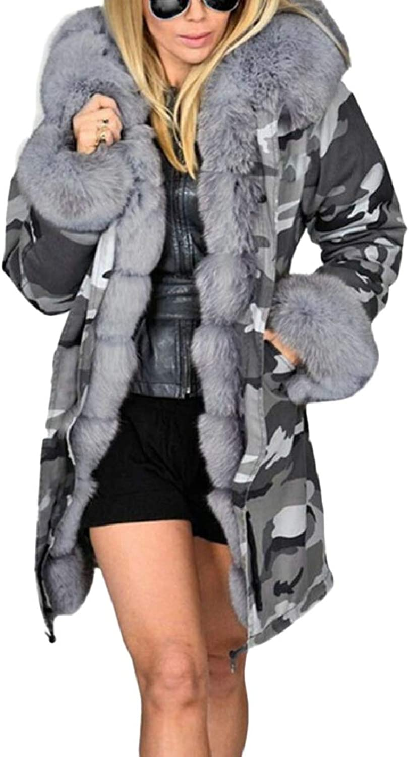 Xswsy XGCA Women's Camouflage Drawstring FauxFur Collar Quilted Down Jacket Coat