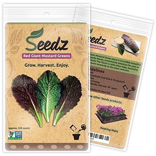 Organic Mustard Seeds (APPR. 550) Red Giant Mustard Greens - Heirloom Vegetable...