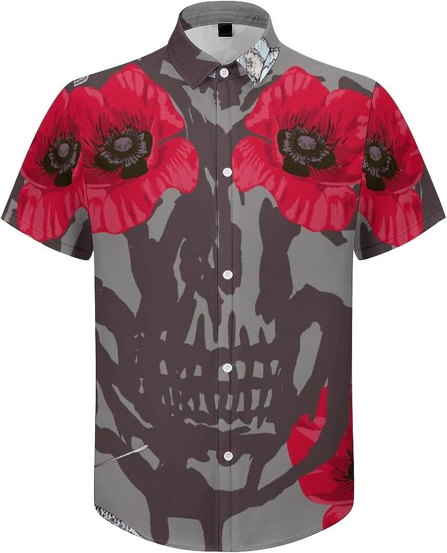 Mens Button Down Shirt Skull Flower Eye Butterfly Casual Summer Beach Shirts Tops