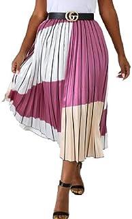 GRMO Las Mujeres Vestido de Faldas Plisadas Print Casual High Rise Falda Midi