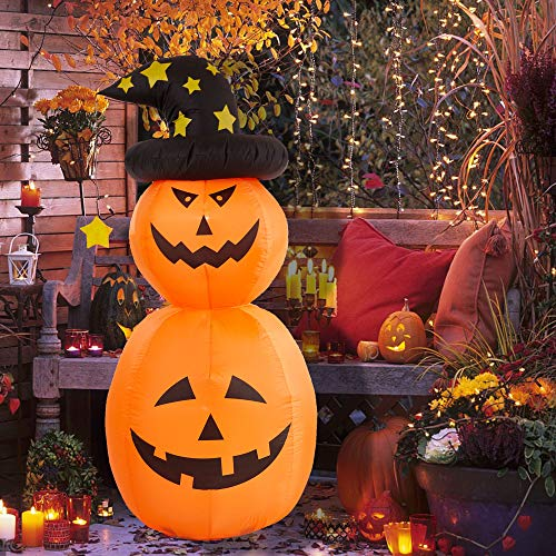 DR.DUDU Halloween Inflatable Pumpkin with Witch Hat, 6 FT Pumpkin with LED Lights for Yard Party Decoration and Halloween Blow up Yard Decorations (6 ft)