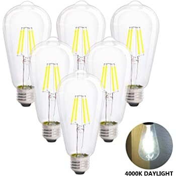 400LM Dimmable Replace 8W Compact Fluorescent CFL Bulbs E26 Base ST64 Vintage Frosted Glass 40W Incandescent Equivalent Neutral White 6 Pack CRLight 4000K LED Edison Bulb 4W Daylight
