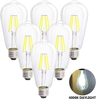 LED Edison Vintage Light Bulbs, 4W 4000K Daylight White, Dimmable LED Edison Bulb Antique LED Filament Bulbs, Clear Glass, 40W Equivalent, 380LM, ST64, E26 Base (4W-4000K-6Pack)