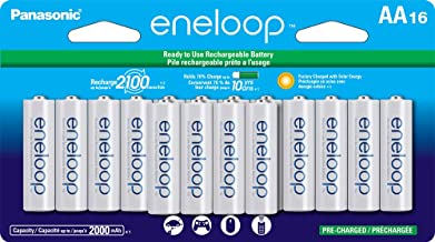 Panasonic BK-3MCCA16FA eneloop AA 2100 Cycle Ni-MH Pre-Charged Rechargeable Batteries, (package includes 16AA blue or 16AA...