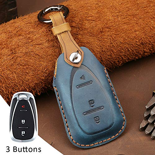 Funda protectora para llave de coche con mando a distancia para Chevrolet Chevy Camaro Cruze Malibu Trax Malibu XL Spark Verano Equinox 3 botones de piel sin llave (azul)