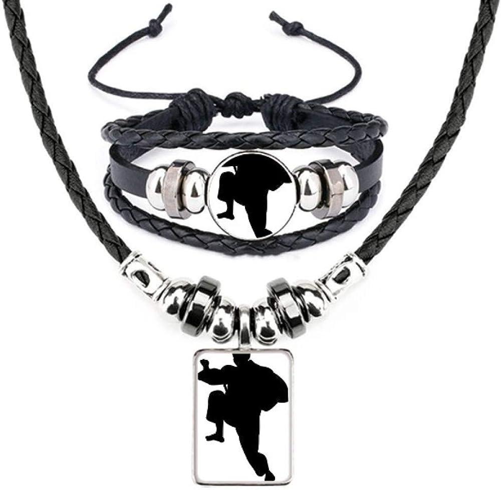 Shaolin Kung Fu China Chinese Martial Art Leather Necklace Bracelet Jewelry Set