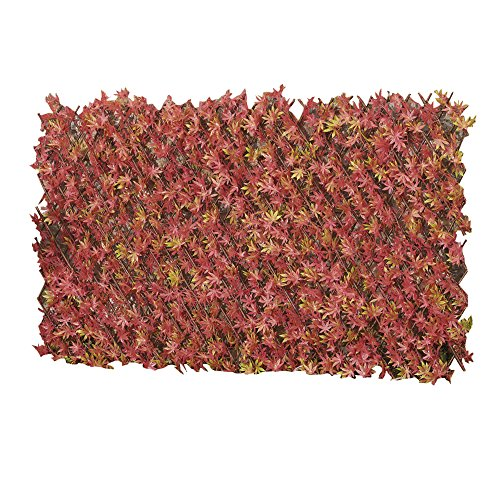 Artificial Red Acer Hedge Trellis 1 x 2m Expandable Privacy Screening Panel for Gardens, Balcony and Terraces