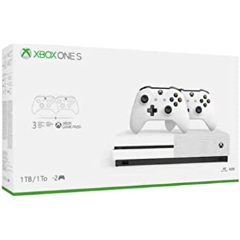 Xbox One S Two Controller Bundle (1TB) Includes Xbox One S, 2 Wireless Controllers, 1-Month Game Pass Trial, 14-day Xbox Live Gold Trial